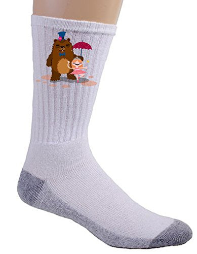 'Bear & Ballerina' Funny Dancing Couple - Crew Socks