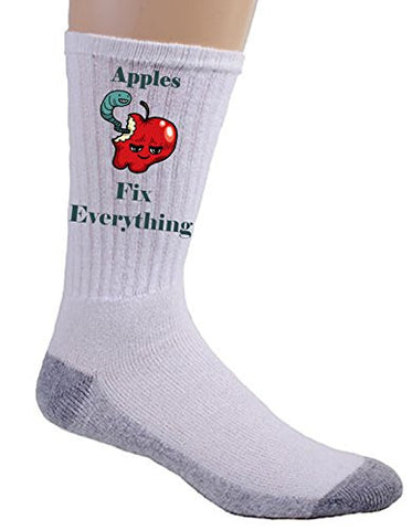 'Apples Fix Everything' Food Humor Cartoon - Crew Socks