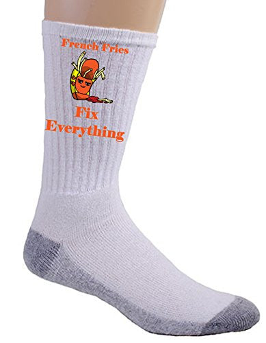 'French Fries Fix Everything' Food Humor Cartoon - Crew Socks