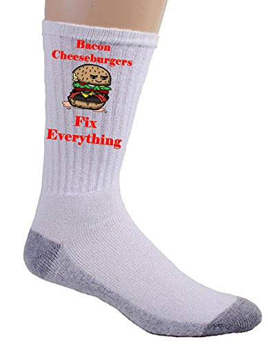 'Bacon Cheeseburgers Fix Everything' Food Humor Cartoon - Crew Socks