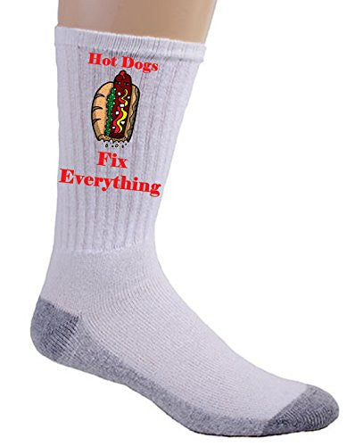 'Hot Dogs Fix Everything' Food Humor Cartoon - Crew Socks