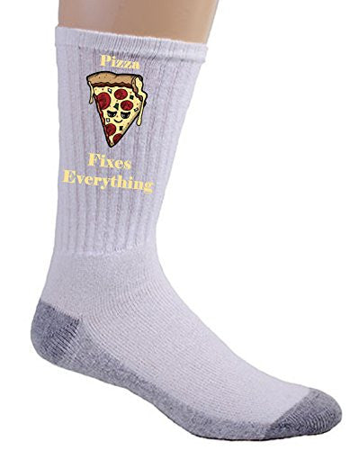 'Pizza Fixes Everything' Food Humor Cartoon - Crew Socks