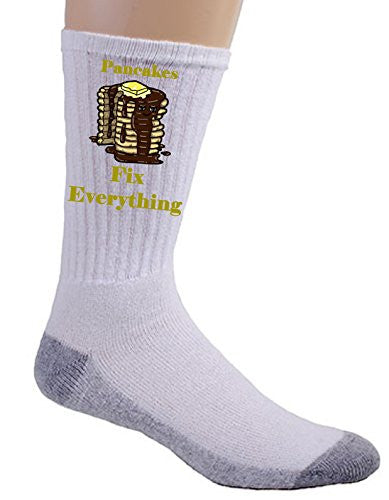 'Pancakes Fix Everything' Food Humor Cartoon - Crew Socks