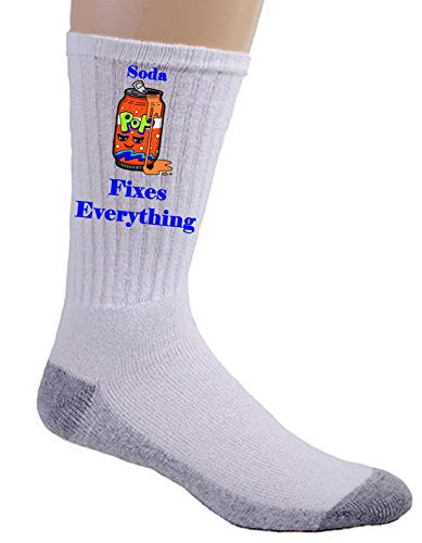 'Soda Fixes Everything' Food Humor Cartoon - Crew Socks