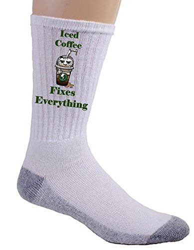 'Iced Coffee Fixes Everything' Food Humor Cartoon - Crew Socks