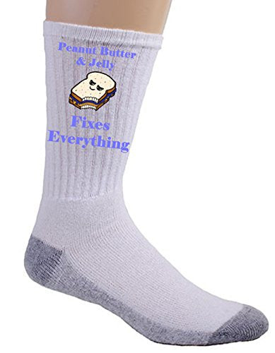 'Peanut Butter & Jelly Fixes Everything' Food Humor Cartoon - Crew Socks
