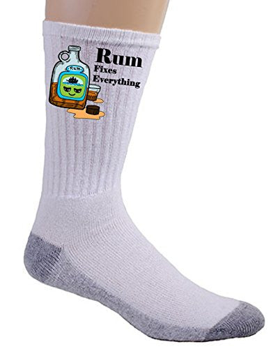 'Rum Fixes Everything' Food Humor Cartoon - Crew Socks