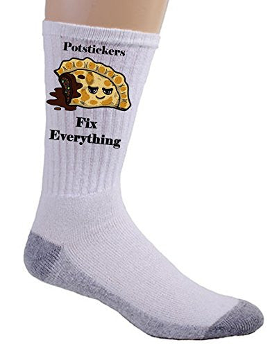 'Potstickers Fix Everything' Food Humor Cartoon - Crew Socks