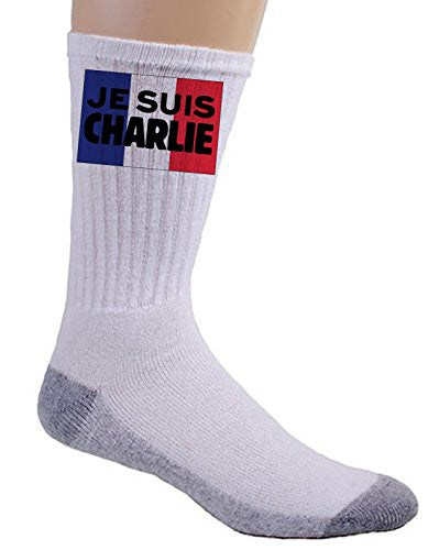 'JE SUIS CHARLIE' French Flag Patriotism Design - White Crew Socks Pair