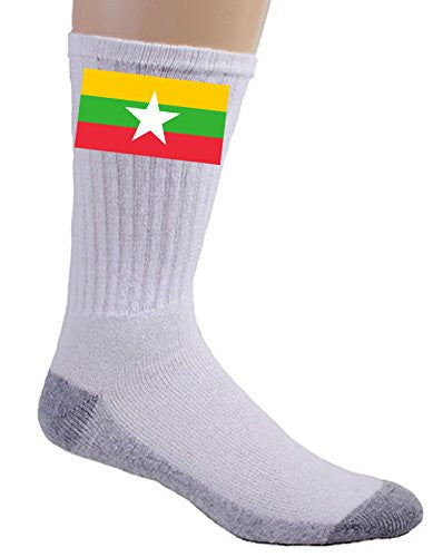 Burma (Myanmar) - World Country National Flags - Crew Socks