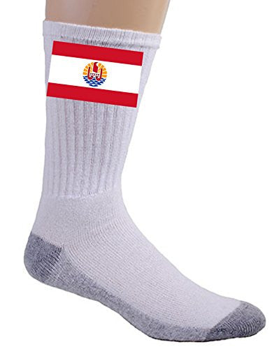 French Polynesia - World Country National Flags - Crew Socks