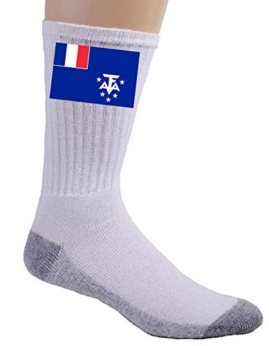 French Southern & Antarctic Lands - World Country National Flags - Crew Socks
