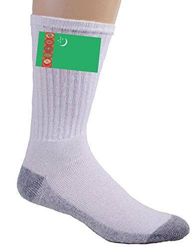 Turkmenistan - World Country National Flags - Crew Socks
