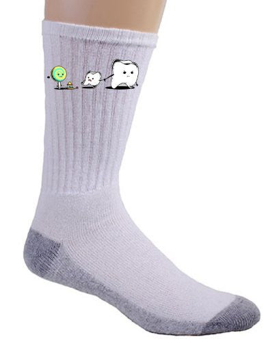 'Bad Friend' Teeth and Lollipop Funny Parody Logo - Crew Socks