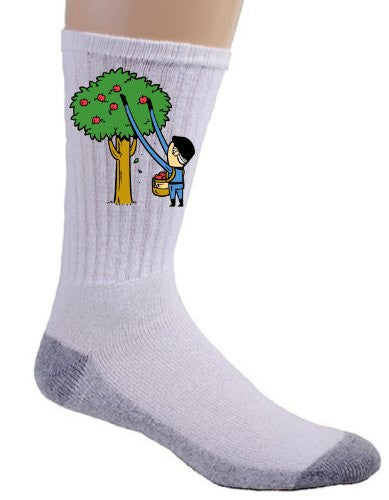 'Part-time JOB Apple Farm' Funny Parody Super Hero Picking Apples Logo - Crew Socks