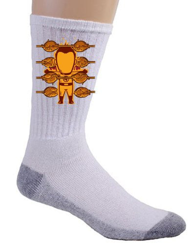 'Part-time JOB Roasted Chicken Shop' Funny Parody Super Hero Roasting Chicken Logo - Crew Socks