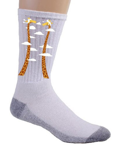 'Cloudy Day' Funny Cartoon Giraffes Long Necks - Crew Socks