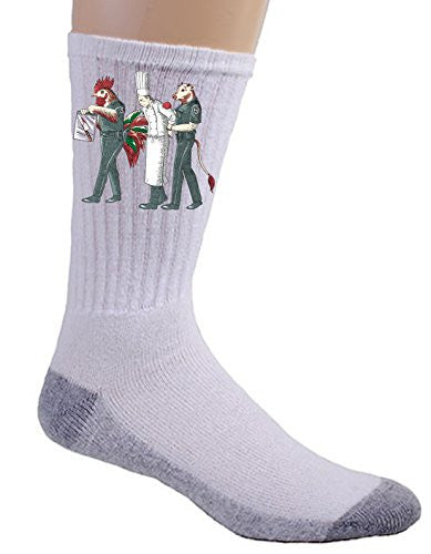 'Murder Chef' Funny Vegetarian Humor Chicken & Cow Police - Crew Socks