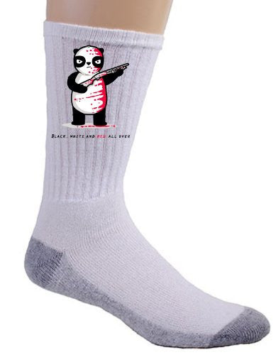 'Black, White & Red All Over' Panda Bear w/ Shotgun Riddle Cartoon - Crew Socks