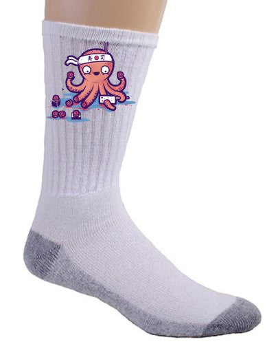 'Octosushi' Funny Japanese Octopus Chef Cutting Tentacles Making Sushi - Crew Socks
