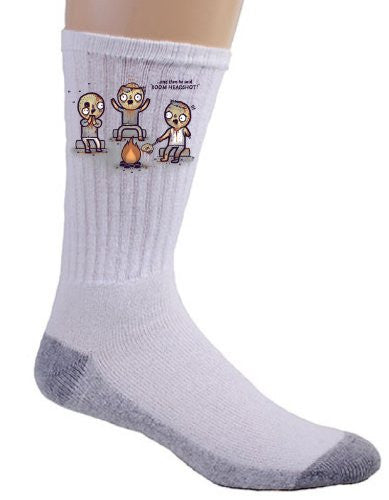 'Zombie Tales' Funny Zombies Around Campfire Telling Stories - Crew Socks