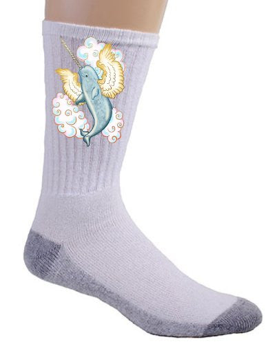 Flying Whale Narwhal Flying w/ Wings in Clouds - Crew Socks