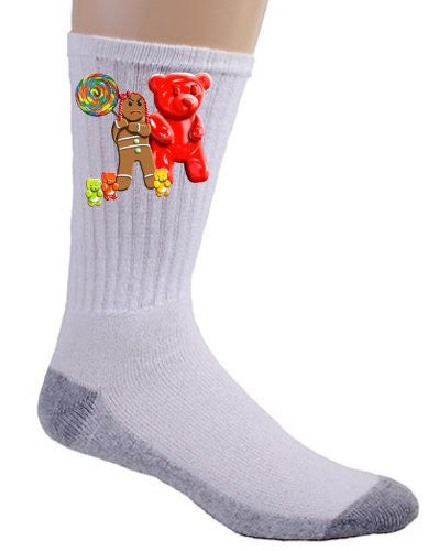Gingerbread Girl w/ Gummy Bears, Crow, & Lollipop - Crew Socks