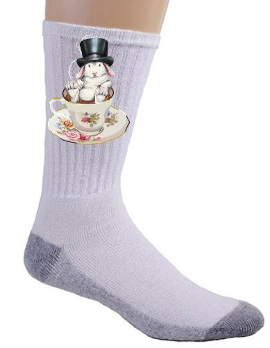 Rabbit Hole Funny Bunny in Teacup w/ Top Hat - Crew Socks