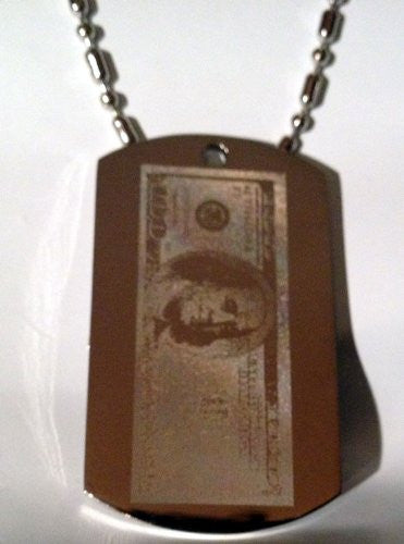 $100 Dollar Bill Benjamin Franklin Us Currency Bling Novelty Logo Symbols - Military Dog Tag Luggage Tag Key Chain Metal Chain Necklace