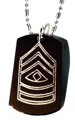 Army Military Officer Rank First Sergeant Logo Symbol - Military Dog Tag Luggage Tag Key Chain Keychain Metal Chain Necklace