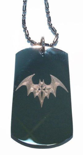 Winged Flying Bat w/ Cross - Military Dog Tag, Luggage Tag Metal Chain Necklace