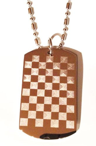 Checkered Flag Board Racing Logo Symbols - Military Dog Tag Luggage Tag Key Chain Keychain Metal Chain Necklace