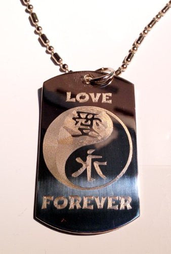 Chinese Calligraphy Character Love Forever YIN Yang Logo Symbols - Military Dog Tag Luggage Tag Key Chain Metal Chain Necklace