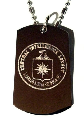 CIA Central Intelligence Agency Seal Logo Symbols - Military Dog Tag Luggage Tag Key Chain Keychain Metal Chain Necklace