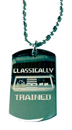 'Classically Trained' Video Game Controller - Military Dog Tag, Luggage Tag Metal Chain Necklace