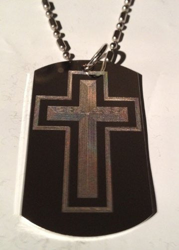 Classic Cross Jesus Christian Christ Religion Religious Logo Symbol - Military Dog Tag Luggage Tag Key Chain Metal Chain Necklace