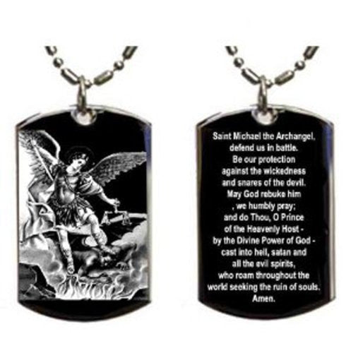 Christian Jesus Christ Angel Prayer to St Michael the Archangel Double Sided Logo - Military Dog Tag, Luggage Tag Metal Chain Necklace