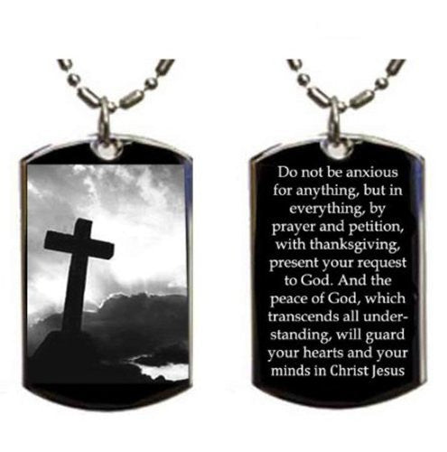 Christian Jesus Christ Cross Philippians 4:6-7 Pendant Double Sided Logo - Military Dog Tag, Luggage Tag Metal Chain Necklace