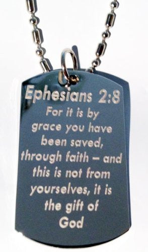 Ephesians 2:8 Bible Biblical Verse 'For It Is By Grace You Have Been Saved...' Christ Christian Christianity Logo Symbols - Military Dog Tag Luggage Tag Key Chain Keychain Metal Chain Necklace