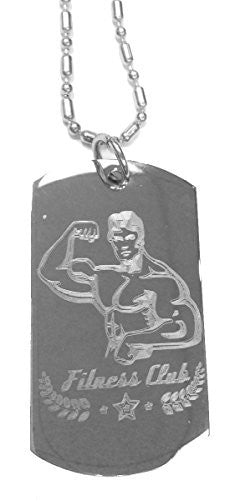 Muscle Guy Man Fitness Club Gym Workout - Luggage Metal Chain Necklace Military Dog Tag