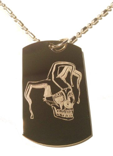 Vampire Zombie Scary Jester Joker Skull Logo Symbol - Military Dog Tag, Luggage Tag Metal Chain Necklace