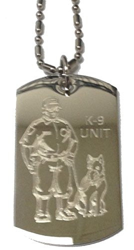 K-9 Unit Police Officer and Dog - Military Dog Tag, Luggage Tag Metal Chain Necklace
