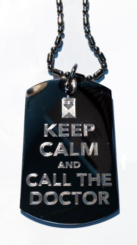 Keep Calm & Call The Doctor Tardis Box - Military Dog Tag, Luggage Tag Metal Chain Necklace