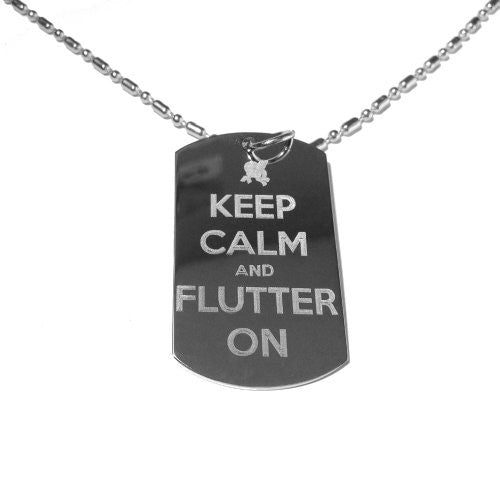 Keep Calm and Flutter on Pony Logo Symbol - Military Dog Tag, Luggage Tag Metal Chain Necklace