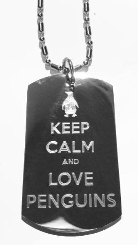 Keep Calm and Love Penguins - Military Dog Tag, Luggage Tag Metal Chain Necklace