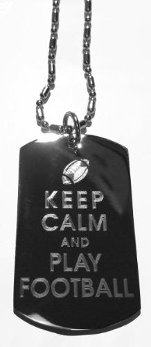 Keep Calm and Love Football - Military Dog Tag, Luggage Tag Metal Chain Necklace
