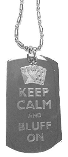 Keep Calm and Bluff On Poker Cards - Luggage Metal Chain Necklace Military Dog Tag