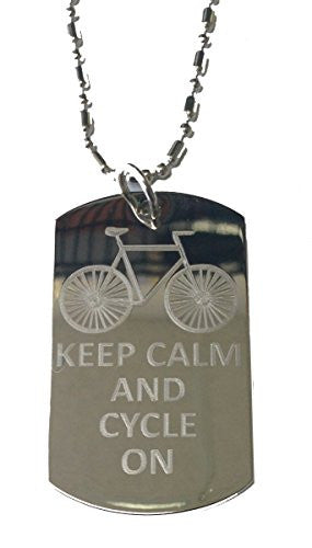 Keep Calm and Cycle On w/ Bicycle - Military Dog Tag, Luggage Tag Metal Chain Necklace