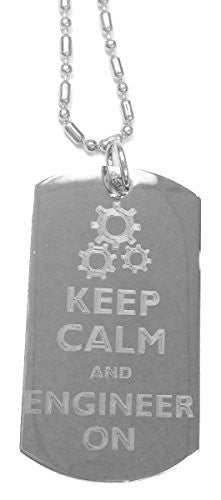 Keep Calm and Engineer On - Luggage Metal Chain Necklace Military Dog Tag