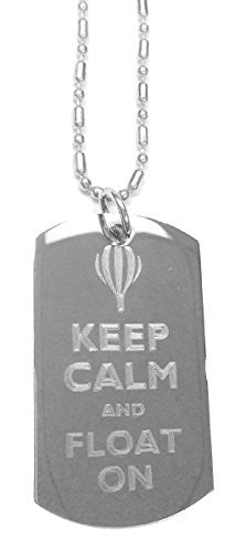 Keep Calm and Float On Hot Air Balloon - Luggage Metal Chain Necklace Military Dog Tag